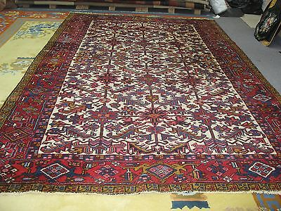 Semi Antique Persian Heriz Rug Allover Ivory Hand Knotted Wool 7'-4 X 10'-10