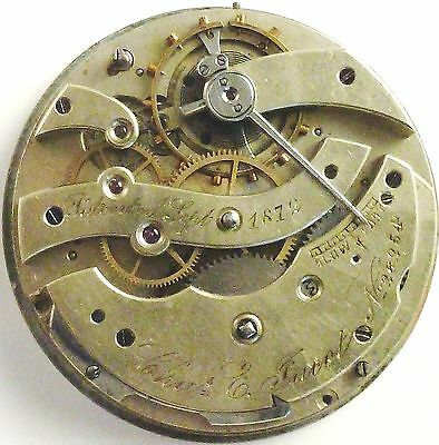 Charles E. Jacot  Pocket Watch Movement - Fully Jeweled - Spare Parts/Repair