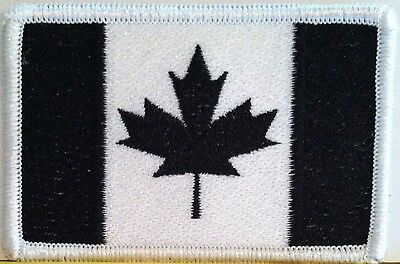 CANADIAN Flag Embroidered Iron-On Patch Canada Military Emblem B & W Version
