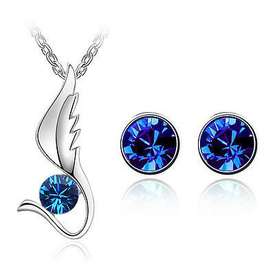 Royal Blue Jewellery Set Angel Wing Diamond Stud Earrings Pendant Necklace S516