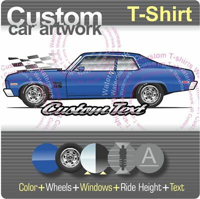 Custom T-shirt 1973 73 74 1974 Chevy Nova SS 350 V8 Spirit Hatchback Chevrolet