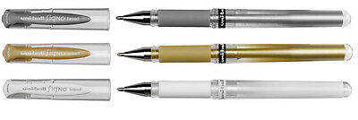 3 x Uni-Ball Signo Broad Gel Pens  UM-153 - Gold + Silver + White = 1 of each