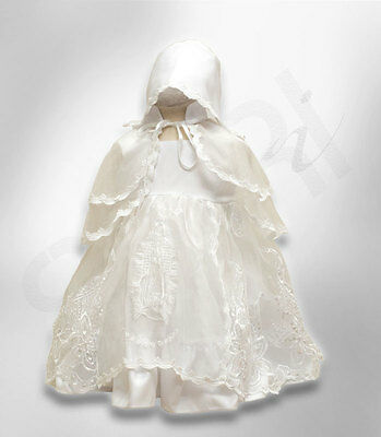 Baby Girls Designer Ivory Christening Gown Bonnet Embroidered Baptism Girl Dress