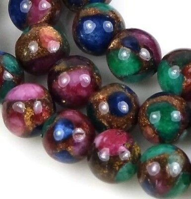 """8mm Ruby Sapphire Emerald   in Quartz with Pyrite Round Beads 15"""""""