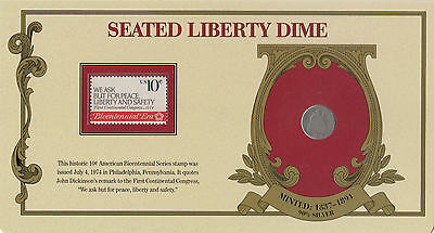 Coin USA 1890s Barber silver dime dollar in combined card with stamp 90% silver