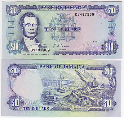 1991 JAMAICA 10 DOLLARS  DM PICK # 71d GEM UNC
