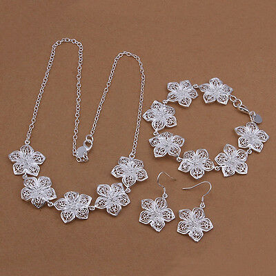 Wholesale fashion 925 Sterling silver set earrings bracelet necklace