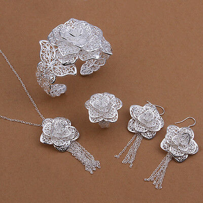 Wholesale fashion 925 Sterling silver Jewelry set earrings bracelet necklace
