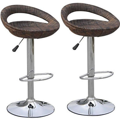 "39"" Set of 2 Rotating Bar Stools Rattan Pub Chair Seat Adjustable Swivel Brown"