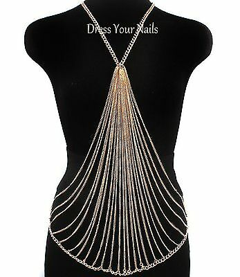 Multi Body Chain Gold or Silver Coloured Costume Jewellery Draping Necklace - uk