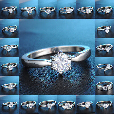 18K White Gold Filled Ring White Sapphire Engagement Wedding Jewelry Size 7,8