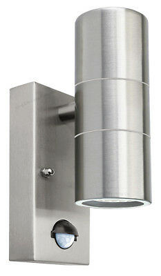 PIR Stainless Steel Double Outdoor Wall Light With Movement Sensor IP44