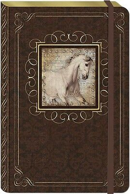 Punch Studio Stationery Large Hardcover Bungee Journal - White Horse 45516