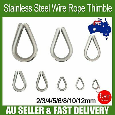 5x Wire Rope Thimble 316 Stainless Steel Webbing Cable Shade Sail Boat 8 Sizes