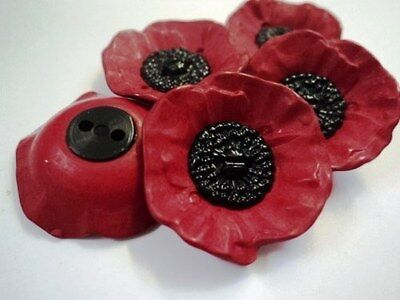 POPPY FLOWER approx 27mm VERY LARGE BLACK & RED 2 HOLE PLASTIC ITALIAN BUTTONS
