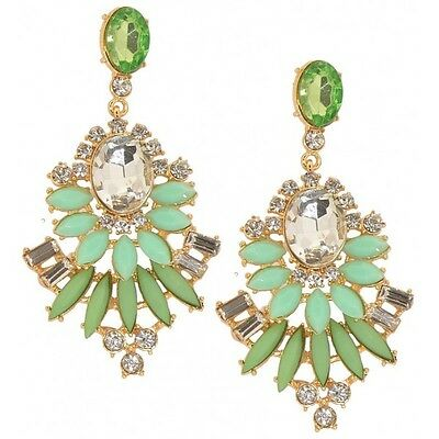 Sparkly Crystal Jade Green Stone Drop Shaped Large Statement Dangling Earrings