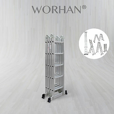 WORHAN® 5.7m Foldable Multipurpose Aluminium Ladder Long Twin Stabilizers KS5.7