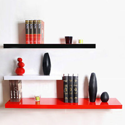 High Gloss Floating Shelve Shelf Shelves Display Unit Wall Mounted Hudson