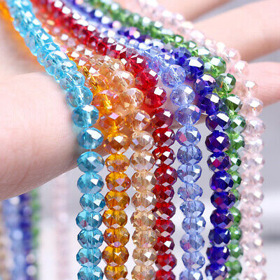 4mm High Quality Bicone & Rondelle Crystal Beads - 30+ Colours Available