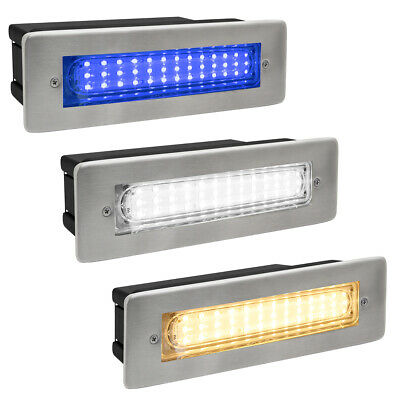 IP65 Recessed LED Outdoor Bricklight Wall Light in White or Blue Energy Saving