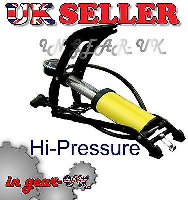 HEAVY DUTY car vehicle foot pump tire inflator HI PRESSURE Delux cylinder NO P&P