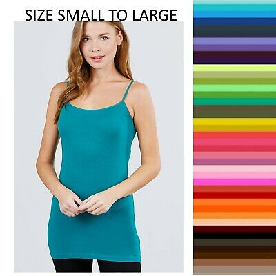 TANK TOP CAMI Long Layering ACTIVE BASIC Spaghetti Strap WHIMSY S,M,L Free Ship