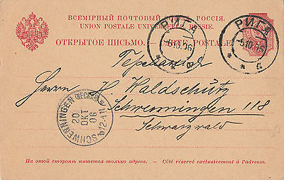 Stamp 1906 prep-printed Russian currency postcard RIGA Latvia to SCHWENNINGEN