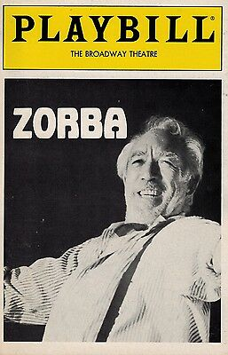 Zorba Broadway Playbill - Anthony Quinn, Lila Kedrova