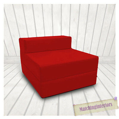 Red Budget Block Filled Cotton Fold Out Z Bed Folding Mattress Sofa Chair Bed