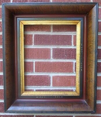 Antique Victorian Eastlake Wood BLOOD RED & Ebony Molding Gilt 1860-70s Frame