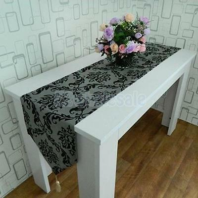 """78 x13"""" Flocked Damask Table Desk Runner Cloth for Wedding Home Party Decoration"""