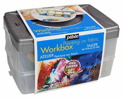 Pebeo Setacolor Opaque Fabric Paint Atelier Workbox Set - Fabric Painting Kit