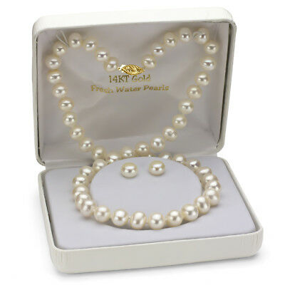 """14k Yellow Gold 6-7mm White Freshwater Pearl Necklace 18"""" and Stud Earrings Set"""