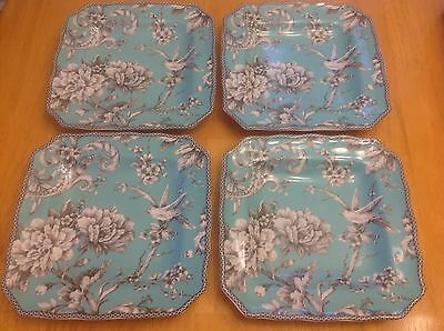 222 Fifth Square Salad Plates. Adelaide Turquoise. Set Of 4. Beautiful. New