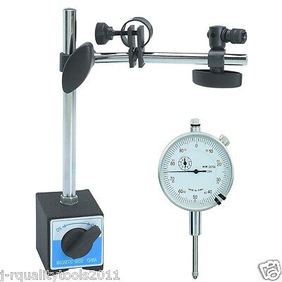 """1"""" Dial Indicator And Magnetic Base Stand Tool Mic Indicater Gauge Set"""