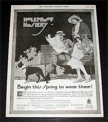 1919 Old Magazine Print Ad, Holeproof Hosiery, Begin This Spring To Wear Them!