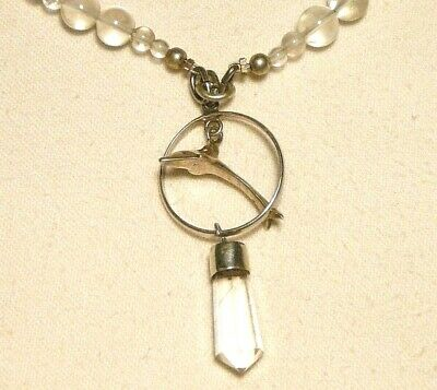 "CLEAR QUARTZ DOLPHIN necklace, 925 SOLID SILVER pendant ""NEW"" auz seller"