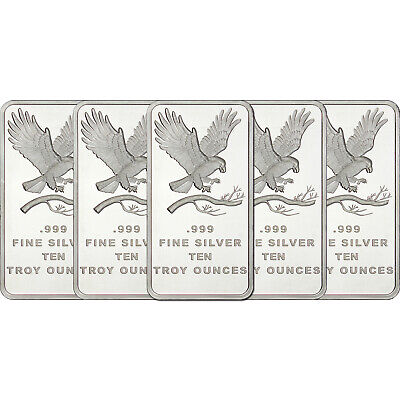 Trademark Eagle 10oz .999 Fine Silver Bars by SilverTowne LOT OF 5