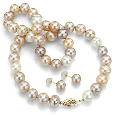 """14k YGold 7-7.5mm Multi-pink Freshwater Pearl Necklace 18"""" and Stud Earrings Set"""