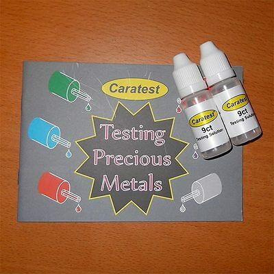 Two Bottles Of Caratest 9ct Gold Professional Testing Kit SolutionTester