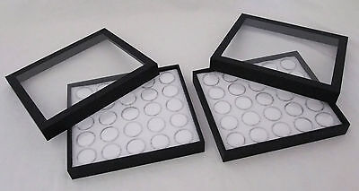 2 Pack Gem Storage Clear Top Cases With 25 Jars Each (White Foam)