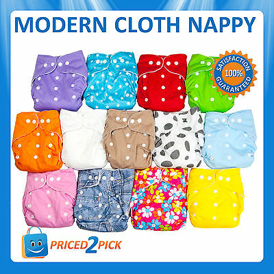10 X Modern Cloth Nappies Mcn Diapers Potty Reusable Adjustable Baby New Nappy