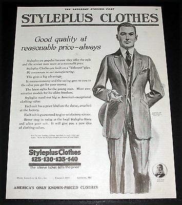 1919 Old Magazine Print Ad, Styleplus Clothes, Quality & Reasonable Prices, Art!