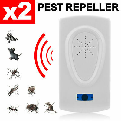 2X Pest Repeller Ultrasonic Electronic Mouse Rat Mosquito Insect Rodent Control