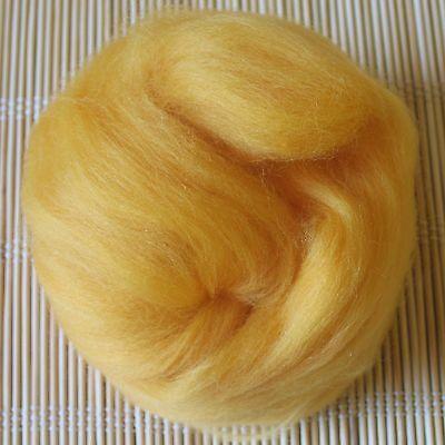 100g Merino Wool Tops 64's Dyed Fibres - Gold - Felt Making and Spinning