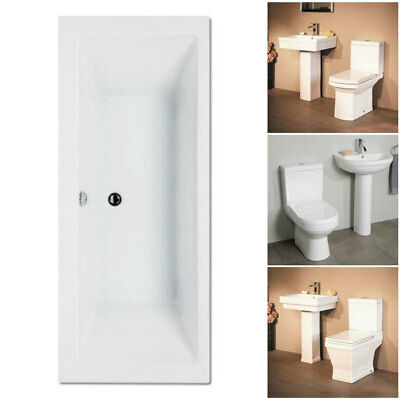 1700 x 700 Double Ended Bath & 2 Piece Closed Coupled Toilet, Basin & Sink