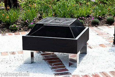 """26""""x26"""" Steel Outdoor Patio Fire Pit Fireplace & Dome Spark Screen"""