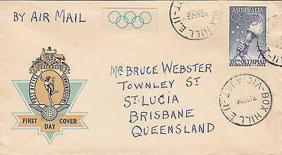 Olympic stamp 7&1/2 Australia 1956 Hermes cover & label Box Hill Vic postmark