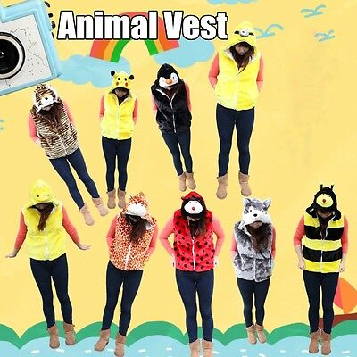 Cute Adult Kids Animal Vest Costume Jacket Hoody Plush Outfit Warm Winter Unisex