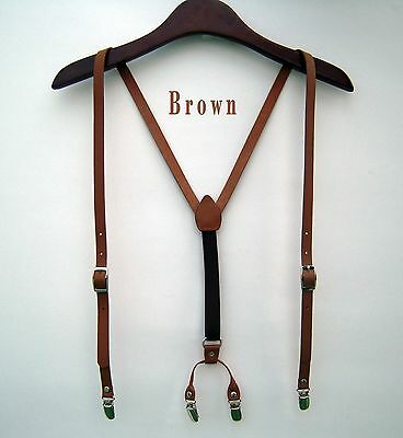 Mens Leather Suspenders Y-Back Retro Braces Clip-On belt new Brown